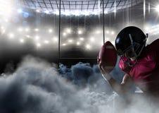 Spieler des amerikanischen Fußballs im Stadion mit Rauche stock abbildung