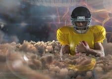 Spieler des amerikanischen Fußballs mit Feuerhintergrund vektor abbildung