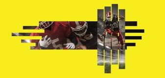 Spieler des amerikanischen Fu?balls in der Aktion gegen gelbes copyspace lizenzfreie stockbilder