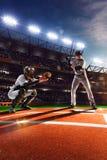 Spieler des professionellen Baseballs auf großartiger Arena Stockfoto