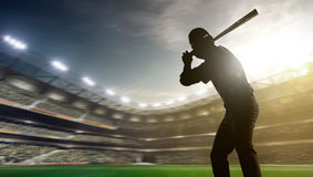 Spieler des professionellen Baseballs in der Aktion Stockbild