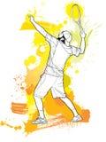 Spieler des Tennis Abstract2 mit einem Schläger vom Spritzen Stockbilder