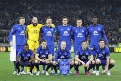 Spieler FC Everton werfen für ein Gruppenfoto auf Lizenzfreies Stockbild