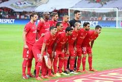 Spieler FC Sevilla werfen für ein Gruppenfoto auf Stockbild