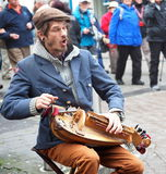 Spieler Hurdy Gurdy in Galway Irland Lizenzfreies Stockbild