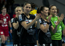 Spieler Pogon Baltica Szczecin feiert den Sieg Stockbilder