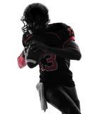 Spieler-Quarterbackporträtschattenbild des amerikanischen Fußballs Lizenzfreie Stockfotos