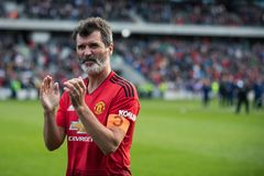 Spieler tun einen Schoss Ehre bei Pairc Ui Chaoimh, für das Liam Miller Tribute-Match lizenzfreie stockfotografie