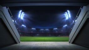 Spielereingang zu belichtetem Stadion voll von Fans vektor abbildung
