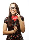 Spielerische junge Frau bereit zur Partei Stockfotos