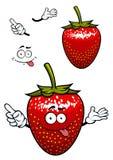 Spielerische lächelnde rote Erdbeerfruchtkarikatur Lizenzfreies Stockfoto