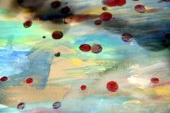 Spielerischer Hintergrund des abstrakten Aquarells mit Wachs Lizenzfreie Stockfotos