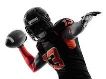 Spielerquarterback des amerikanischen Fußballs, der Porträtschattenbild führt Lizenzfreies Stockbild