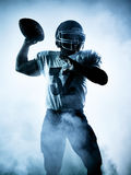 Spielerschattenbild des amerikanischen Fußballs Stockfotografie