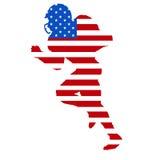 Spielerschattenbild des amerikanischen Fußballs Stockbilder