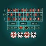 Spielfeld für Roulette stock abbildung