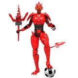 Spielfußball des roten Teufels Lizenzfreies Stockbild