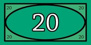 Spielgeld 20 Stockbild