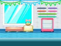 Spielhintergrund Shop, Gemischtwarenladeninnenraum lizenzfreie abbildung
