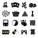 Spielikonen schwarz eingestellt Stockfoto
