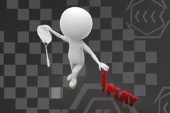 Spielillustration des Mannes 3d gerade Lizenzfreies Stockfoto