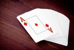 Spielkarte Aces, Konzept des Pokerspiels Texas Stockfotografie