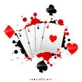 Spielkarte auf dem Farbenspritzen Lizenzfreie Stockfotografie