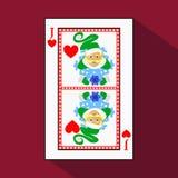 Spielkarte das Ikonenbild ist einfach HERZ-JACK-SPASSVOGEL-NEUES JAHR-ELFE WEIHNACHTSthema mit Weiß ein Basissubstrat krank lizenzfreie abbildung