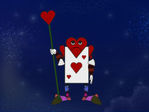 Spielkarte des Herz-Charakters Stockfotografie