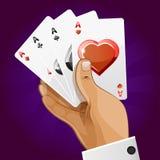 Spielkarte des Pokers in der Hand Lizenzfreies Stockbild