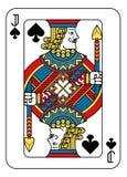 Spielkarte Jack des Spaten-Gelb-roten blauen Schwarzen Lizenzfreie Stockfotos