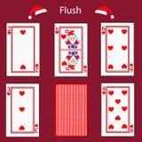 Spielkarte-Pokerkombination Fiush Illustration ENV 10 Auf einem roten Hintergrund Zu für Design verwenden, Ausrichtung, das websi Stockbilder