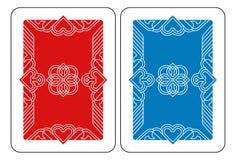 Spielkarte-Rückseiten-Rückseite in Rotem und in Blauem Stockfoto