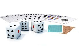Spielkarte und Würfel Lizenzfreies Stockbild