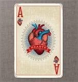 Spielkarte-Vektorillustration der Weinlese des Herz-Ases Lizenzfreie Stockfotos