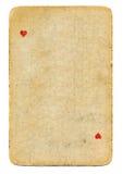 Spielkarteherz-as der Weinlese benutzte lokalisierten den Papierhintergrund Lizenzfreies Stockbild