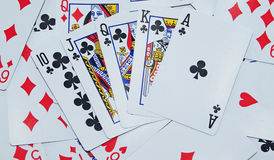 Spielkartehintergrund Stockfoto