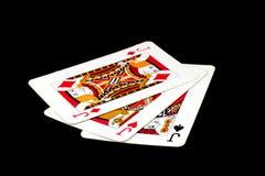 Spielkarten auf einem bunten weichen Hintergrund Stockbilder