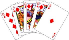 Spielkarten der Diamanten des königlichen Errötens Stockfotografie