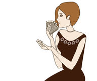 Spielkarten der Frau Stockbild