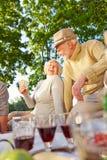 Spielkarten der glücklichen älteren Leute in einem Garten Stockbild
