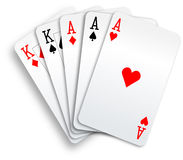 Spielkarten der Schürhaken-Handvolles Haus-Asse und der Könige Stockbild