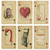 Spielkarten der Weinlese   Stockfotos