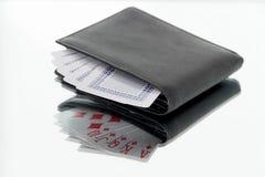 Spielkarten des Geldbeutels stockfotos
