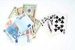 Spielkarten des Geldes Stockbild