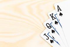 Spielkarten des Kasinos königliches Erröten-Schürhaken Stockbild