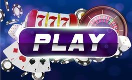 Spielkarten des Kasinos, Würfel, Roulette und Chips Blauer runder Spielknopf mit metallischer Grenze, Kasinohintergrund Online vektor abbildung