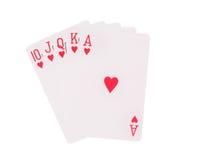 Spielkarten des Royal Flushs lokalisiert auf weißem Hintergrund Stockfotografie