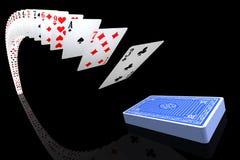 Spielkarten, die to/from die Plattform fliegen Stockbilder
