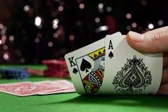Spielkarten in einem Pokerspiel Lizenzfreies Stockbild